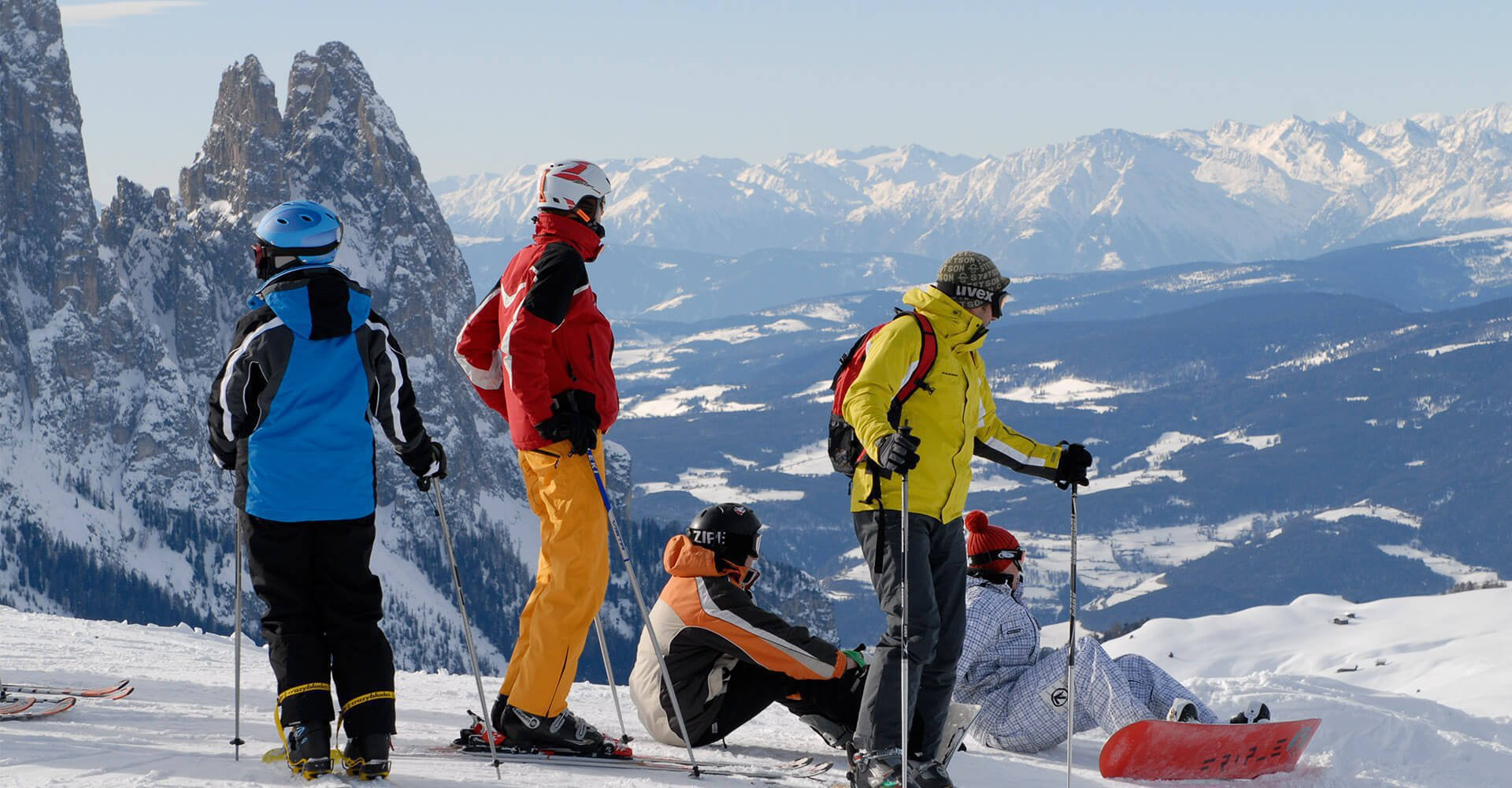 Abfahrtsspaß im Skigebiet auf der Seiser Alm