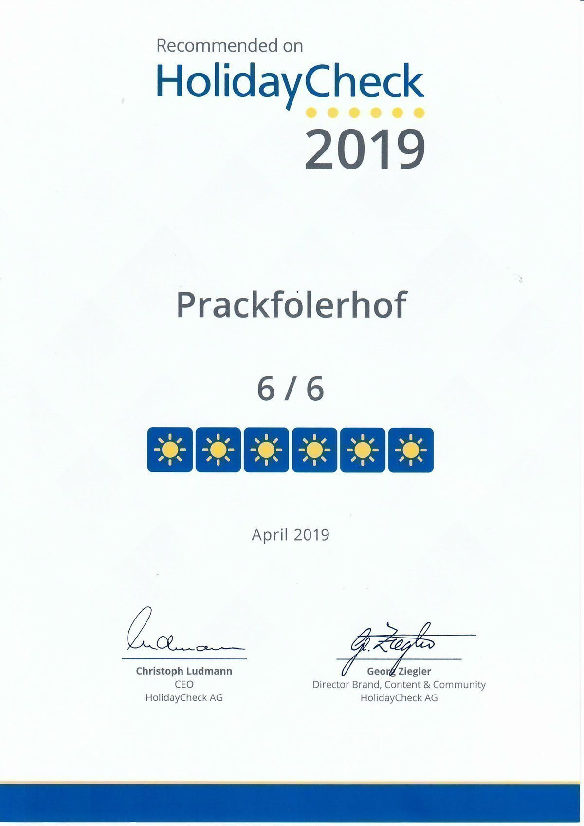 Award from Holiday Check for Prackfolerhof 2019